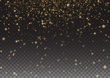 Funkeln-Partikel-Effekt Funkelnde Goldfunkelnde Raum-Sternstaubspur Transparenter Hintergrund der Vektorillustration Lizenzfreie Stockfotos