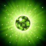 Funkelnde Discokugel auf Impuls der grünen Leuchte Stockbild