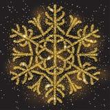 Funkelnde goldene Schneeflocke mit Funkelnbeschaffenheit für Weihnachten, Grußkarte des neuen Jahres Lizenzfreies Stockbild
