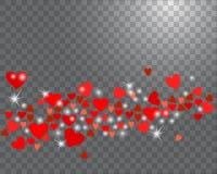 Funkelnde Herzen des Vektors auf einem transparenten Hintergrund Lizenzfreie Abbildung