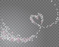 Funkelnde Linie Herz strömen von Kirschblüte-Blumen auf einem transparenten Hintergrund Vektor Lizenzfreie Abbildung