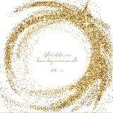 Funkelnde Schablone des Goldfunkelns Dekorativer Schimmerhintergrund Glänzende bezaubernde abstrakte Beschaffenheit Goldener Konf Stockbild