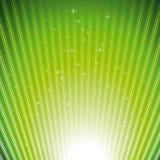 Funkelnde Sterne auf Impulshintergrund der grünen Leuchte Stockfoto