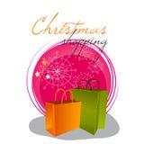 Funkelnde Weihnachtseinkaufenbeutel Lizenzfreie Stockfotografie