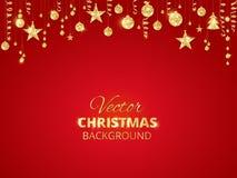 Funkelnde Weihnachtsfunkelnverzierungen Goldene Fiestagrenze, festliche Girlande mit hängenden Bällen und Bänder Stockfoto