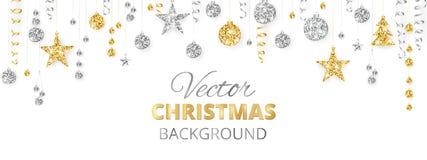 Funkelnde Weihnachtsfunkelnverzierungen Goldene Fiestagrenze, festliche Girlande mit hängenden Bällen und Bänder an lokalisiert lizenzfreie abbildung
