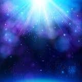 Funkelnder blauer festlicher Sternexplosionshintergrund Stockfoto