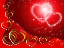 Funkelnder Herz-Hintergrund zeigt Liebhaber und Vorliebe Stockfotografie