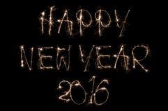 Funkelnder Text des guten Rutsch ins Neue Jahr 2016 auf schwarzem Hintergrund Stockfotos