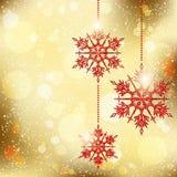 Funkelnder Weihnachtsschneeflocke-Hintergrund Stockfotografie