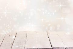 Funkelnder Winterhintergrund für Produktplatzierung Stockfotografie