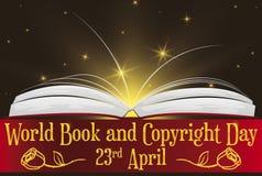 Funkelndes Buch mit Gruß-Band für Weltbuch-Tag, Vektor-Illustration lizenzfreie abbildung