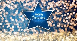 Funkelndes Gold und silberne Weihnachtslichter mit Grußmitteilung der frohen Weihnachten und des guten Rutsch ins Neue Jahr spiel stockfotos