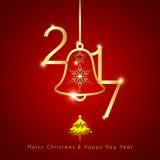 Funkelndes goldenes Weihnachten Bell auf rotem Hintergrund vektor abbildung