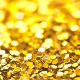 Funkelndes Lichter bokeh Licht goldener Weihnachtshintergrund Stockfotografie