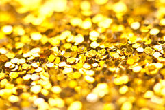 Funkelndes Lichter bokeh Licht goldener Weihnachtshintergrund Stockfotos