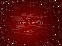 Funkelndes Rot des glücklichen neuen Jahres alle Sprachen Stockfoto