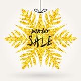 Funkelnschneeflocke kündigen Winterschlussverkauf an Stockfotos