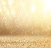 Funkelnweinlese beleuchtet Hintergrund Abstrakter Goldhintergrund defocused Lizenzfreies Stockfoto