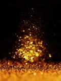 Funkelnweinlese beleuchtet Hintergrund dunkles Gold und Schwarzes Sankt Klaus, Himmel, Frost, Beutel lizenzfreie stockfotos