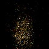 Funkelnweinlese beleuchtet Hintergrund dunkles Gold und Schwarzes Sankt Klaus, Himmel, Frost, Beutel stock abbildung