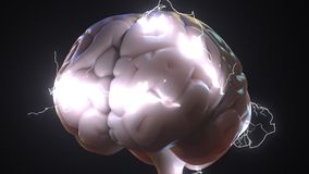 Funken über menschlichem Gehirn Ideen oder Geistesblitzin verbindung stehende Begriffs-Wiedergabe 3D Stockbild