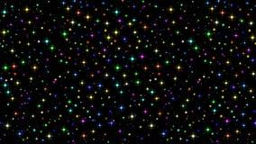 Funken und Sterne auf schwarzer, nahtloser Schleife stock footage
