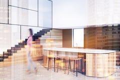 Funktionellt kök med trappasidosuddighet stock illustrationer