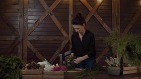 Funktionsduglig blomsterhandlare Woman med julkransen Ung gullig le kvinnaformgivare som förbereder den vintergröna trädkransen f stock video