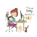 Funktionsduglig hemmastadd moder, freelancer med två ungar stock illustrationer