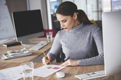 Funktionsduglig kvinna på kontoret arkivbild