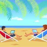 Funktionsduglig man och kvinna på strandvektorillustration stock illustrationer
