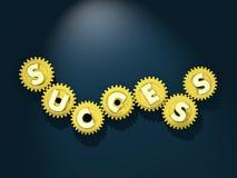 Funktionsduglig mekanism av framgång Roterande guld- kugghjul med bokstäver Arkivbild