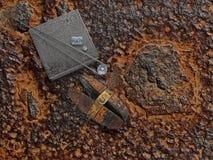 Funktionsduglig rostig platta med diamanter Arkivbilder