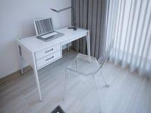 Funktionsduglig tabell i modernt sovrum Fotografering för Bildbyråer
