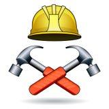 Funktionsdugliga hjälpmedel två hammare och hjälm Royaltyfria Foton