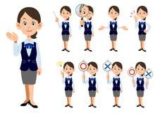 Funktionsdugliga kvinnor 9 sorter av gester och ansiktsuttryck stock illustrationer