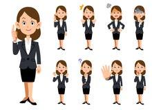 Funktionsdugliga kvinnor 9 sorter av gester och uttryckt vektor illustrationer
