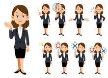 Funktionsdugliga kvinnor 9 sorter av gester och uttryckt royaltyfri illustrationer