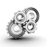 funktionsdugliga metalliska kugghjul på vit bakgrund Fotografering för Bildbyråer