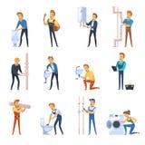 Funktionsdugliga rörmokare sänker färgsymbolsuppsättningen Fotografering för Bildbyråer