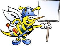 Funktionsdugligt bi som rymmer ett tecken royaltyfri illustrationer