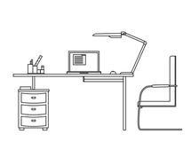 Funktionsdugligt datorskrivbord Stock Illustrationer