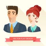 Funktionsdugligt lag för affärsman och för affärskvinna. Plan design. Arkivbild