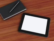 Funktionsdugligt skrivbord för kontor med bärbara datorn och notepaden stock illustrationer