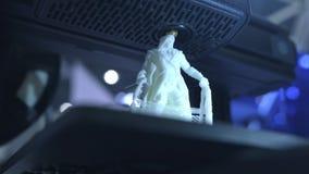 funktionsdugligt slut f?r skrivare 3D upp Den automatiska tredimensionella skrivaren 3d utf?r plast- Modern utskrift f?r skrivare stock video