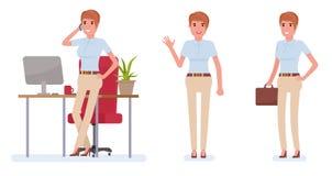 Funktionsdugligt tecken för affärskvinna - uppsättning Illustration för design för vektortecknad filmlägenhet som isoleras på vit Fotografering för Bildbyråer