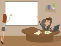 Funktionsdugligt tecknad filmbegrepp för kontor stock illustrationer