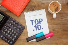 Funktionsdugligt utrymme Grönt te och text i notepad: Topp 10 Royaltyfri Fotografi