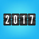 Funktionskort 2017 för lyckligt nytt år Blått svartvitt vektorflipsymbol Royaltyfria Foton